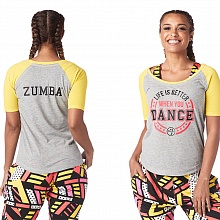 Футболка женская (Zumba Life Is Better Baseball Tee)